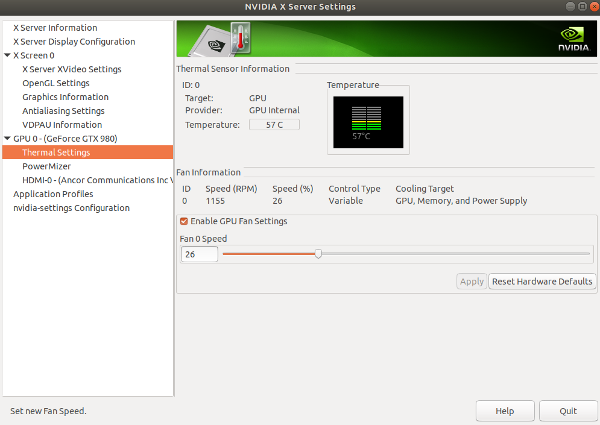 How to control Nvidia graphics card Fan Automatically in